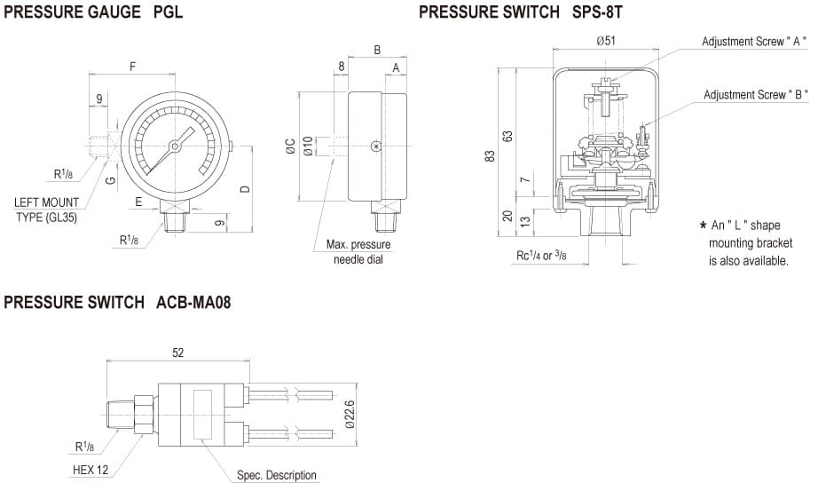 Showa Centralised Lubrication System - Accessories - Pressure Switches & Gauges - PGL, SPS, ACB Pressure Gauges & Switches - Drawing 1