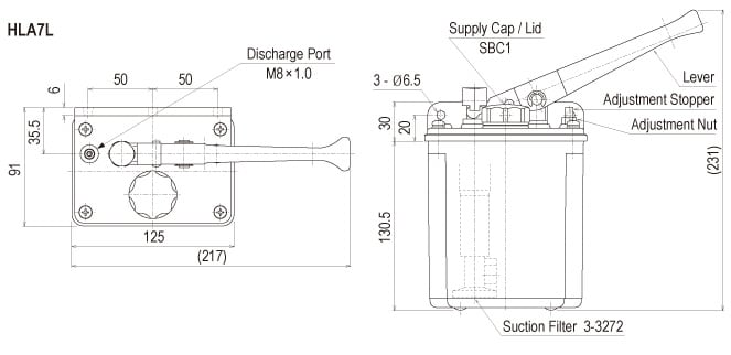 Showa Centralised Lubrication System- Resistance Motarised Pump Units - Manual Pumps - HLA7 Hand Pump - Drawing