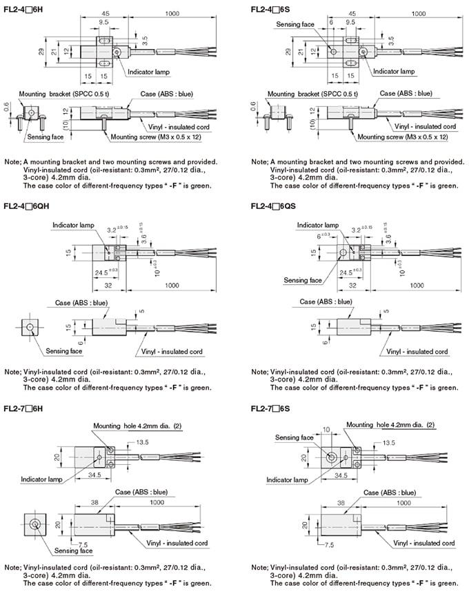 Azbil Yamatake - FL2 Series Square Proximity Switches - Drawing 1