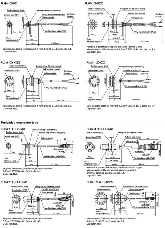 Azbil Yamatake - FL7 Series Cylindrical Proximity Switches - Drawing 1