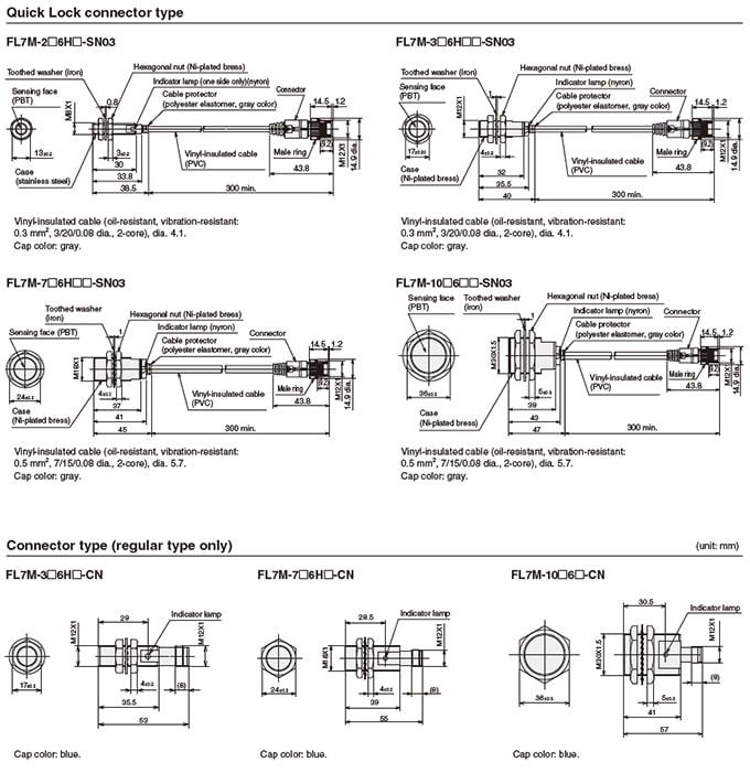 Azbil Yamatake - FL7 Series Cylindrical Proximity Switches - Drawing 2
