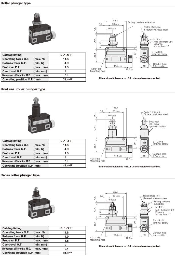Azbil Yamatake - SL1 Series Compact Horizontal Limit Switch - List 1