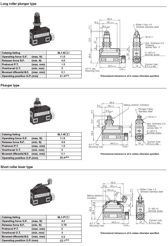 Azbil Yamatake - SL1 Series Compact Horizontal Limit Switch - List 2
