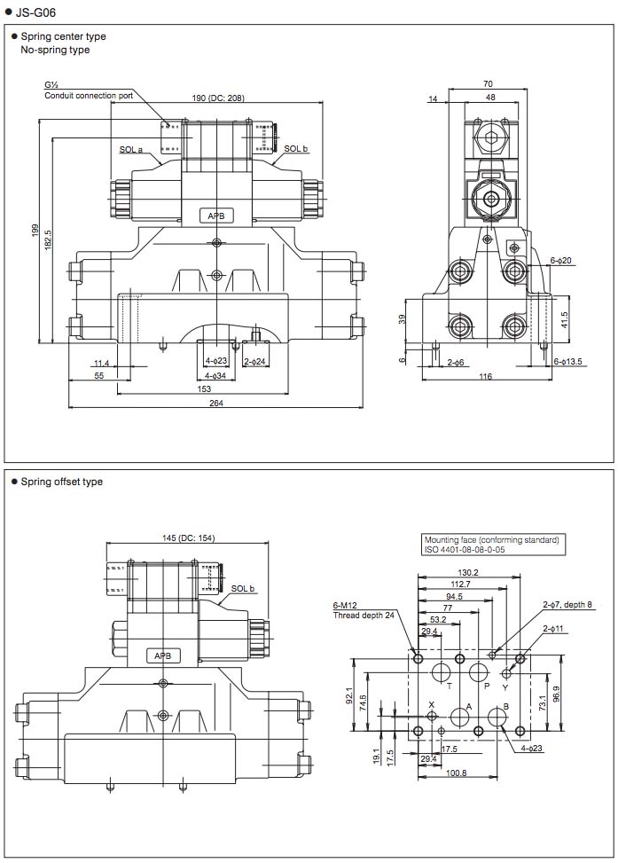 Daikin - Solenoid Operated Directional Control Valves - JS Series Valves - Drawing 1