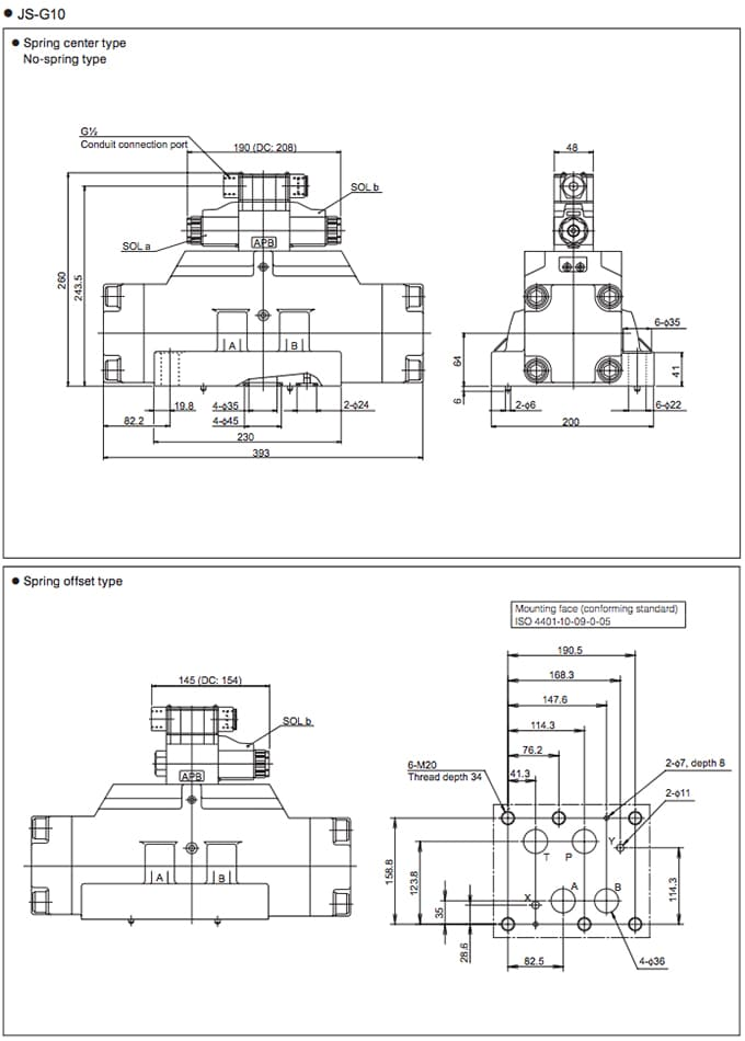 Daikin - Solenoid Operated Directional Control Valves - JS Series Valves - Drawing 2