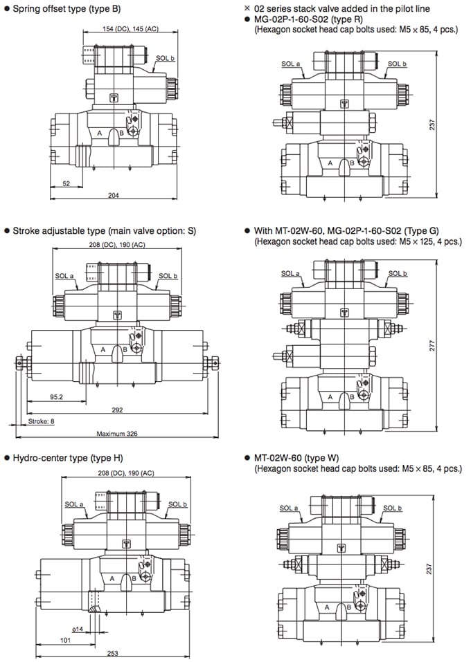 Daikin - Solenoid Operated Directional Control Valves - KSH Series Valves - Drawing 2