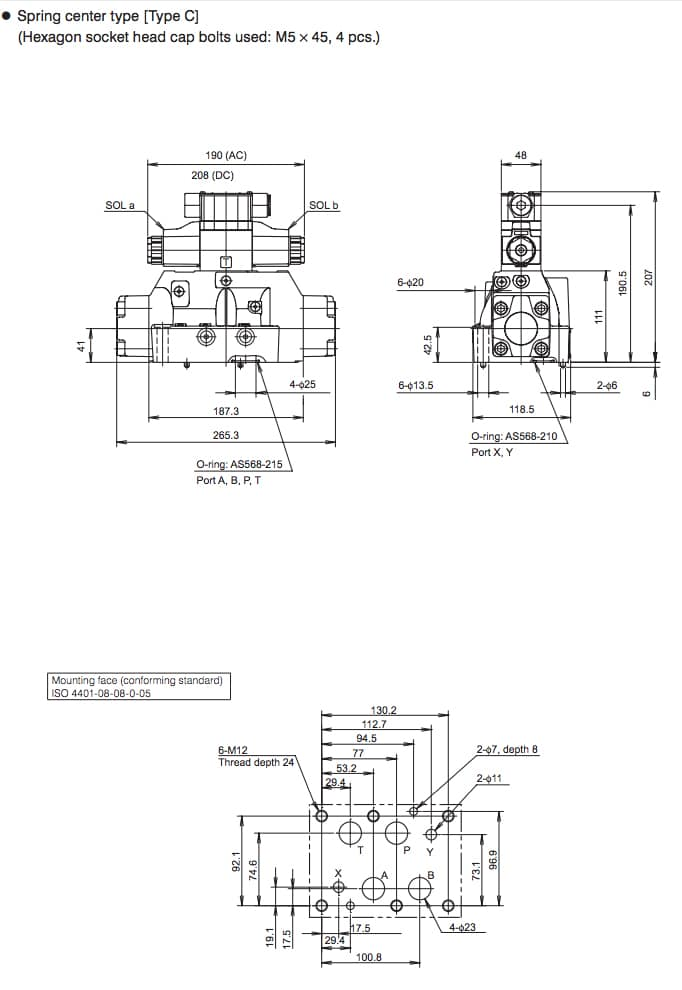 Daikin - Solenoid Operated Directional Control Valves - KSH Series Valves - Drawing 3