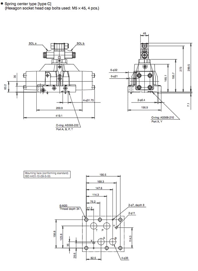 Daikin - Solenoid Operated Directional Control Valves - KSH Series Valves - Drawing 5