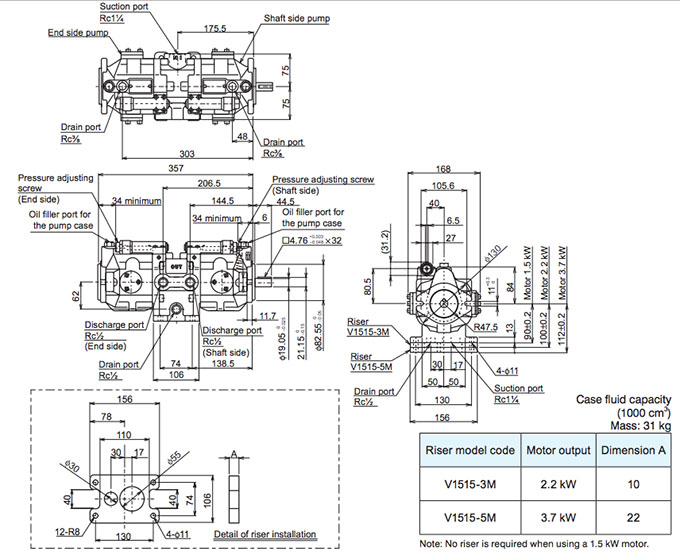 Daikin - V Series Variable Displacement Piston Pumps - V1515 Series Dual Pumps - Drawing 1