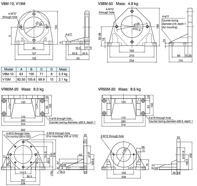 Daikin - VR Series Variable Displacement Piston Pumps - VR50M Piston Foot Support - Drawing 1