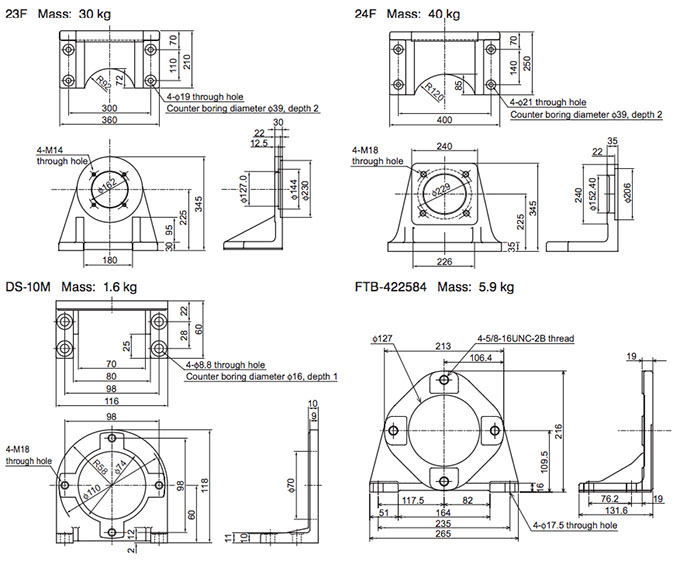 Daikin - VR Series Variable Displacement Piston Pumps - VR50M Piston Foot Support - Drawing 2