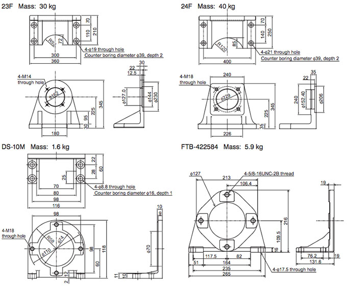 Daikin - VR Series Variable Displacement Piston Pumps - VR80M Piston Foot Support - Drawing 2