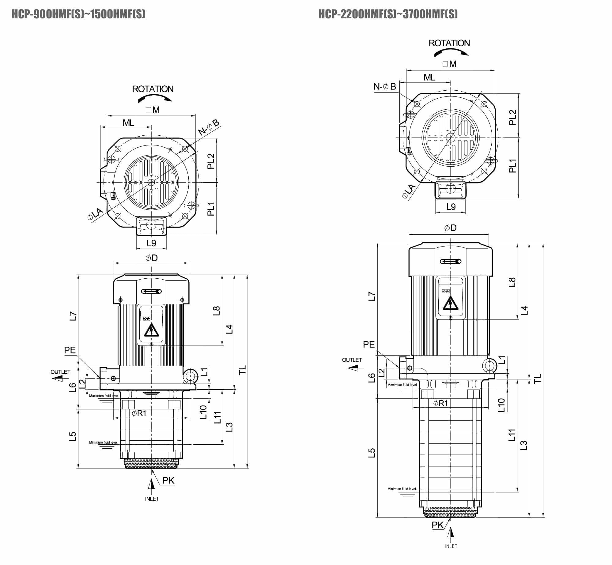Hals Lube Systems - HMFS Series Coolant Pumps - Drawing 1