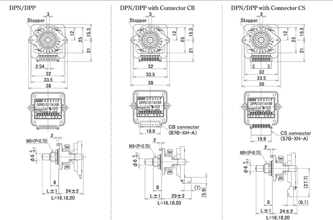 Tosoko Electrics - DP Series Rotary Switches - Drawing 1